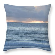 People Gather At Carmel Beach Throw Pillow