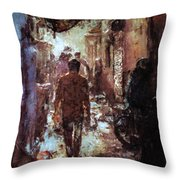 People In Alley Throw Pillow