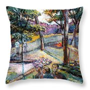 People In Landscape Throw Pillow
