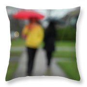 People In The Rain Throw Pillow