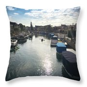 People Kayaking Through Naples Canals In Long Beach, Ca Throw Pillow