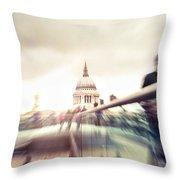 People On Millennium Bridge In London Throw Pillow