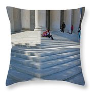 People On Steps With Columns Throw Pillow