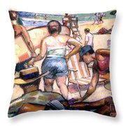 People On The Beach Throw Pillow by Stan Esson