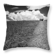 People On The Hill Bw Throw Pillow
