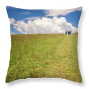 People On The Hill Painterly Throw Pillow