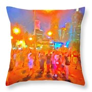 People Outside On Street Throw Pillow