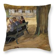 People Sitting On A Bench In Bezuidenhout. The Hague Throw Pillow