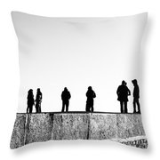 People Standing In Groups Abstract Monchrome Throw Pillow
