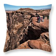 People View Horseshoe Bend Rock Edge  Throw Pillow