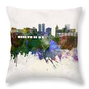 Peoria Skyline In Watercolor Background Throw Pillow