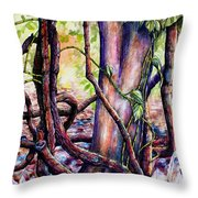 Pepper Vines With Peacock Ginger Throw Pillow