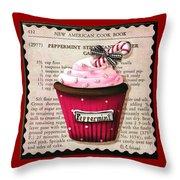 Peppermint Stick Christmas Cupcake Throw Pillow