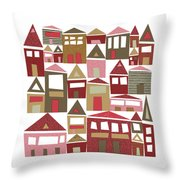 Peppermint Village Throw Pillow