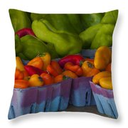 Peppers At The Produce Market Throw Pillow