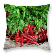 Peppers In A Basket Throw Pillow