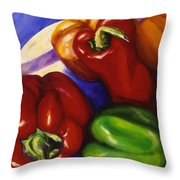 Peppers In The Round Throw Pillow