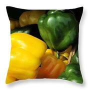 Peppers Yellow And Green Throw Pillow
