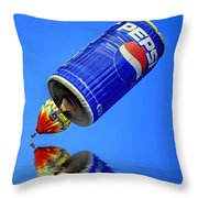 Pepsi Can Hot Air Balloon At Solberg Airport Reddinton  New Jersey Throw Pillow