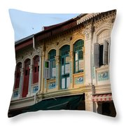 Peranakan Architecture Design Houses And Windows Joo Chiat Singapore Throw Pillow