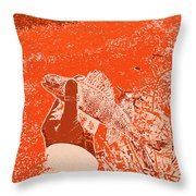 Perch Red Throw Pillow