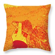 Perch Red Yellow Throw Pillow