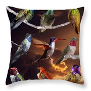 Perched Hummingbird Collage Throw Pillow