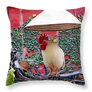 Perched Rooster Throw Pillow