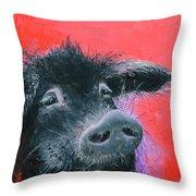 Percival The Black Pig Throw Pillow