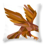 Peregrine Falcon Swooping Low Polygon Throw Pillow