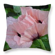 Perfect Peach Poppy Throw Pillow