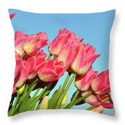 Perfect Pink Tullips Throw Pillow