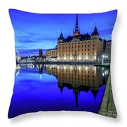 Perfect Riddarholmen Blue Hour Reflection Throw Pillow