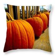Perfect Row Of Pumpkins Throw Pillow