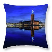Perfect Stockholm City Hall Blue Hour Reflection Throw Pillow