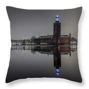 Perfect Stockholm City Hall Night Reflection Throw Pillow