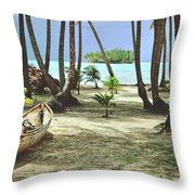 Perfect Tropical Paradise Islands With Turquoise Water And White Sand Throw Pillow