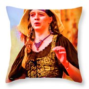 Performer Singing On Stage - In Watercolor Photo Throw Pillow