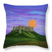 Perigee Moon Rising Above Crow Butte Throw Pillow