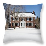 Period Vintage New England Brick House In Winter Throw Pillow