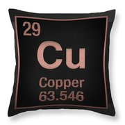 Periodic Table Of Elements - Copper - Cu - Copper On Black Throw Pillow