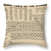 Periodic Table Of Elements In Sepia Throw Pillow