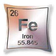 Periodic Table Of Elements - Iron Fe Throw Pillow