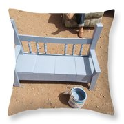 Periwinkle Bench Throw Pillow