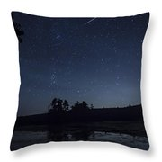 Perseid Meteor Shower Over Pond Throw Pillow