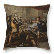 Perseus Turning Phineas And His Followers To Stone Throw Pillow