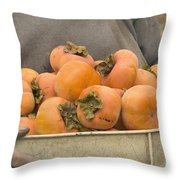 Persimmons In A Bucket Throw Pillow