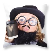 Person With Cup Of Coffee Throw Pillow