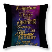 Personality Traits Of A Capricorn Throw Pillow by Mamie Thornbrue