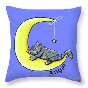 Personalized Ll Gray Tabby Throw Pillow
